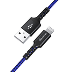 CABLE TERA GRAND Apple C89 MFi Certified - Lightning to USB Braided Cable with Aluminum Housing, 10 Ft Black-Blue