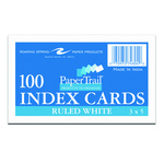 """WHITE RULED INDEX CARDS 3""""X5"""" 100CT"""
