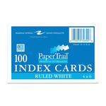 """INDEX CARD WHITE RULED 4""""X6"""" 100CT"""